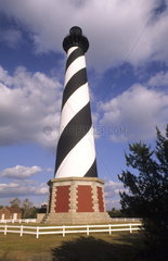 Famous Cape Hatteras Lighthouse the tallest in North America in its new location after it was moved in the Outer Banks Of North Carolina USA