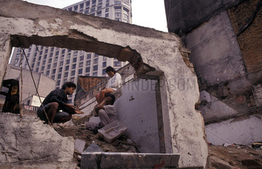 Street children living in ruins of abandoned building in Sao Paulo  Brazil. Sao Paolo  homeless children  social problems  South America  Latin America  homelessness  urban  cosmopolitan