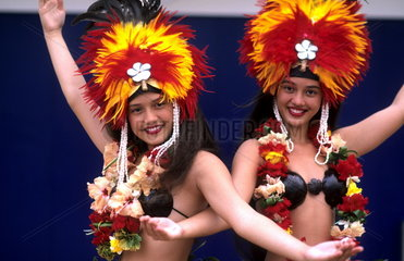Colorful dancers in Tahiti in French Polynesia in the South Pacific Rim