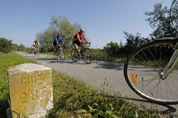 Cyclists on the Véloroute along the canal of Rhone to Rhine