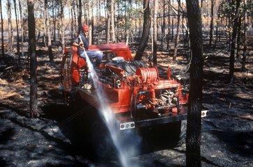 Sol forestier venant de brûler aspergé d'eau contre reprise