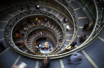 Rome  the stairs of the Vatican museum during Christmas