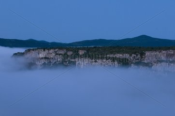 Clouds of fog in the canyon before sunrise Cevennes France