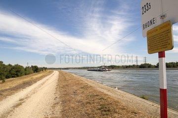 Rhône diversion canal and its dike Avignon France