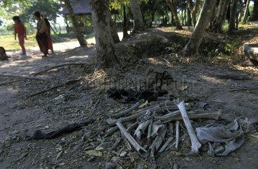 The killing fields of Choeung Ek  bones of victims of the Pol Pot regime