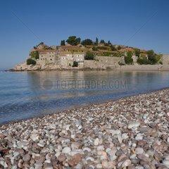 Beach and peninsula of Sveti Stefan in Montenegro