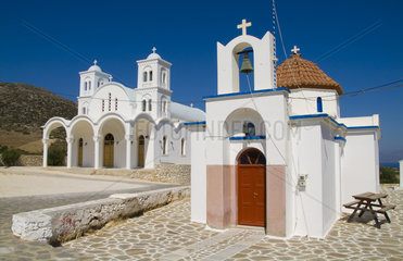 Beautiful island of Paros Greece in Greek Islands and beautiful church in small town of Dryos on east coast of Paros