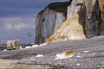 Landslide cliff blochkaus to Pourville-sur-Mer France