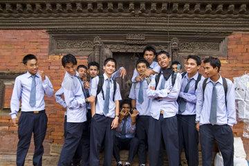 High school students in uniform from school in village of Bhaktapur a town near Kathmandu Nepal