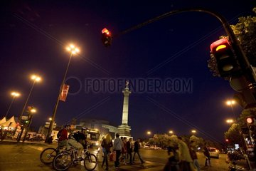 Street scene on the Bastille place in the night Paris