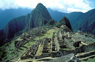 Peru  Machu Picchu; An overview of the ancient inca city  discovered in 1911.