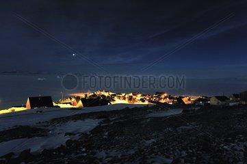 Village Ittoqqortoormiit and Scoresby Sund ice Greenland