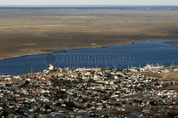 Argentina  Patagonia  aerial view of Puerto Deseado and Ria Deseado