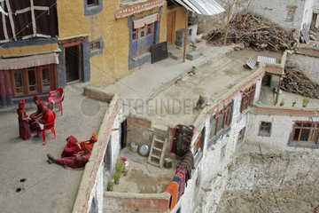 Homes in the Phuktal monastery Zanskar India