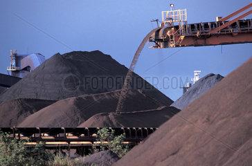 Mining  conveyor belt  transportation of iron ore. Tubarao Harbour. City: Vitoria  State: Espirito Santo  Brazil. Daytime  Economy  Environment  Industrial  Industry  Iron  Metal  natural resources.