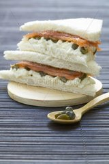 Tea Sandwich with salmon and capers France