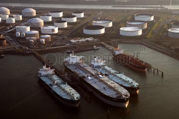 Port of Rotterdam  aerial view of the Vopak terminal  liquid bulk and petro chemicals