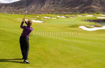 Elegant new golf course at Anfi Tauro Golf Course in Tauro near Puerto Rico in Gran Canaria on coast of Canary Islands Spain