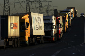 Port of Rotterdam  Maasvlakte  congestion of trucks for the container terminals