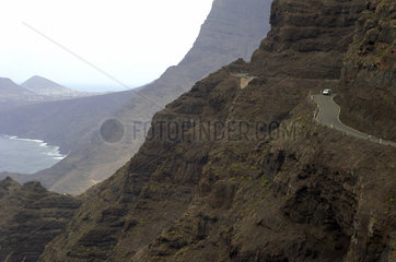 Gran Canaria  coastal road that winds through the rugged volcanic mountain slopes from San Nicolas de Tolentino to Agaete