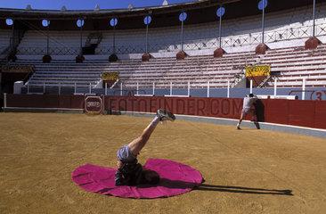 Bullfighter Padilla training in the arena of Sanlucar de Barremeda