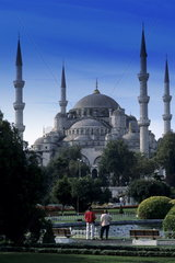 Beautiful and famous Blue Mosque in its beauty in Istanbul Turkey