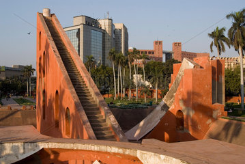 INDIA : Central New Delhi. The sun dial at the Jantar Mantar. A observatory for the study of heavenly bodies  constructed by Maharaja Jai Singh in 1725.