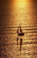 Voilier sur une mer dorée par le coucher du soleil. bateau