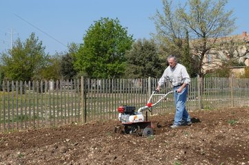 Ploughing with a hoeing bike in a kitchen garden Provence France
