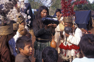 Brazil. Guarani - Kaiowas indigenous people. Natives record their songs and cultural traditions.