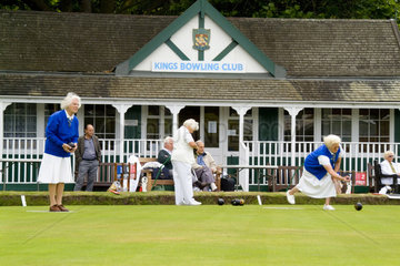 Women lawn bowling at the Kings Bowling Club in Torquay England Devon called the English Rivera