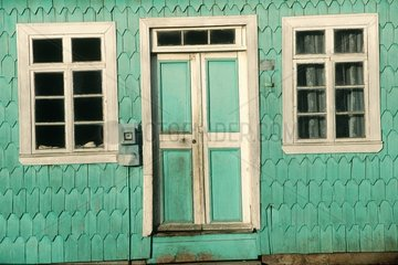 Ile de Chiloé  façade de maison traditionnelle en bois