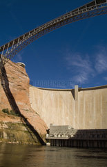 Glen Canyon Dam on the Colorado River near Page Arizona in West USA