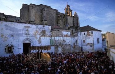 Jerez de la Frontera during the holy week of Eastern a processions is leaving the church