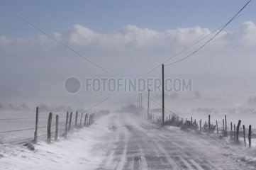 Road of Lozere under a snowstorm in winter France