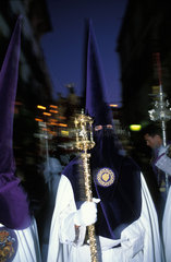 Jerez de la Frontera during the holy week of Eastern solemn processions pass through the night