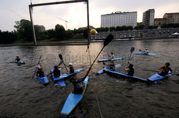 Turin  on the river Po a canoe polo competition is held
