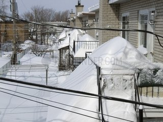 Balconies snowy after a snowstorm Quebec