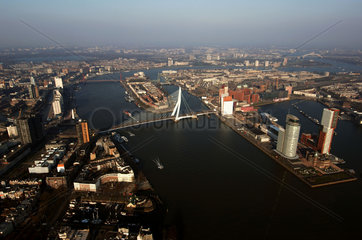 Rotterdam  aerial view of the Meuse river  the Kop van Zuid and the Erasmus bridge