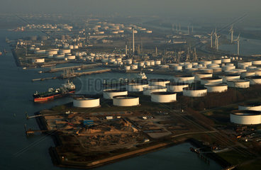 Port of Rotterdam  aerial view of the Shell Europoort terminal  liquid bulk and petro chemicals