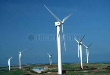 Wind farm with 400 kW wind turbines Carland Cross Cornwall