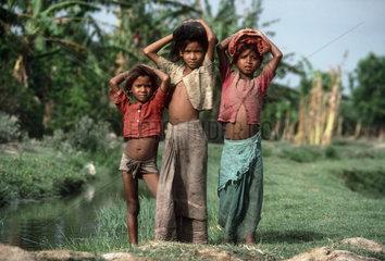 NEPAL : Terai (lowlands bordering India). Tharu girls.