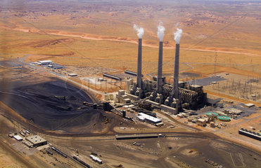 Aerial of power plant right outside Page Arizona in West USA