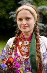 Woman in traditional costume of Ukraine old clothes in festive in Kiev Ukraine