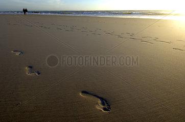 Sylt  footprints on the beach