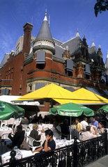 Great outdoor cafe called Paris Brest Restaurant in Quebec City Quebec Canada