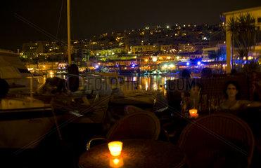 Port of Piraeus in Athens Greece at night