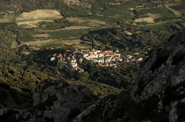 aerial view on a village in the Pyrenees Orientals