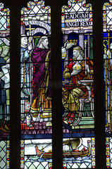Bath  stained glass window with biblical scene of the gothic abbey