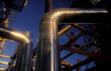 Pipeline at offshore oil platform. Brazil.